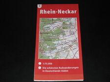 Fahrradkarte Tourenkarte Radwanderungen Deutschland Süd: Rhein-Neckar