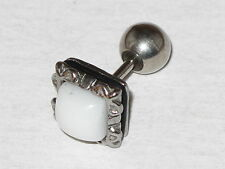 1 Piece Men's Stainless Steel Unique White Agate Stud Earring