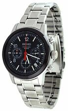 SEIKO SPORT CHRONOGRAPH DATE BLACK DIAL STAINLESS STEEL MEN'S WATCH SSB011 NEW