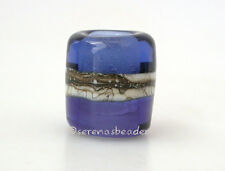 INK BLUE and SAPPHIRE * FINE SILVER European Charm lampwork bead TANERES
