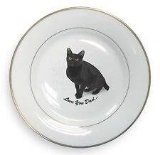 Black Cat 'Love You Dad' Gold Rim Plate in Gift Box Christmas Present, DAD-156PL