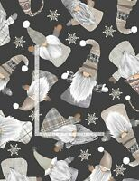 Gnome Gnomes Tossed White on Black C8207 Timeless Durable Cotton Fabric
