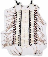 INDIAN STYLE LG BURGUNDY BEADED BUFFALO BONE BREAST PLATE western chest shield