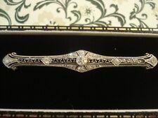 Exquisite Antique Art Deco: 17 Sparkling Old Mine Diamonds White Metal Brooch