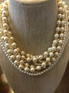 Vintage Carolee Multi Strand Faux Pearl Necklace Signed