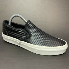 Vans Classic Slip-On Moto Leather Perforated Men's Shoes Black Size 7.5 Wmns 9