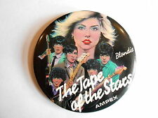 """Vintage Rock Band Blondie Ampex Recording Tape Advertising 3"""" Pinback Button"""