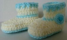 HAND MADE CROCHET BABY BLUE AND BABY LEMON BOOTIES 2-5 MONTHS