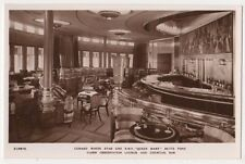 RMS Queen Mary, Cabin Observation Lounge & Cocktail Bar RP Postcard, B584