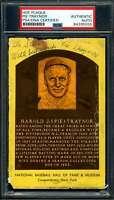 Pie Traynor PSA DNA Coa Autograph Signed Gold HOF Plaque Postcard Autograph