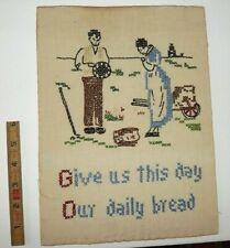 Vintage Antique 1930's Sampler Cross Stitch Embroidery Needlework 30's Prayer