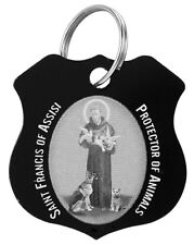 St. Francis of Assisi Black Pet Collar Medal with Prayer Card.