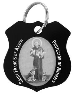 St. Francis of Assisi Black Pet Collar Medal with 2 Prayer Cards