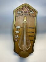 Unusual Vintage Wood & Glass Wall Mounted Barometer THE WEATHER MAN wall Plaque