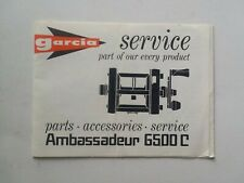 Garcia Ambassadeur 6500C Service Pamphlet Fishing Reel Parts Accessories Booklet
