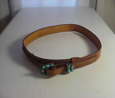 Vintage WESTERN BELT with SILVER & TURQUOISE BUCKLE Signed ANGIE  C. ZUNI ARTIST