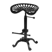 Industrial Bar Stool Iron Tractor Seat Swivel Metal Chair Adjustable Height USA