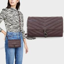 NWT🍇 Rebecca Minkoff Edie in Quilted Leather Wallet on a Chain Currant (Purple)