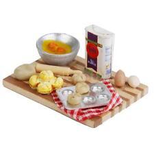 Dollhouse Miniature Baking Set Milk Egg On a Board Kitchen Bakery Food 1:12