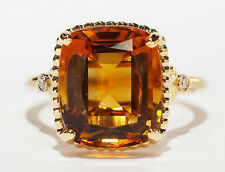 Tiffany & Co. 18k Yellow Gold Sparklers Cushion Citrine Gemstone Ring w/Diamonds
