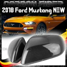 Glossy Real Carbon Fiber Side Mirror Cover Overlay Trim For 2018 Ford Mustang