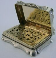 BEAUTIFUL ENGLISH NATHANIEL MILLS STERLING SILVER VINAIGRETTE ANTIQUE 1849 RARE