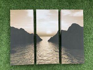 Sunset Sea Rocks Canvas Wall Art Set Of 3