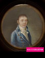 ANTIQUE 1800s FRENCH MINIATURE PAINTING WATERCOLOR GOUACHE Portrait curved glass