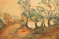 Vintage gouache painting expressionist landscape