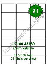 21 Labels per Sheet x 5 Sheets L7160 / J8160 White Matt Copier Inkjet Laser