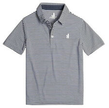 Johnnie-O Men's Midnight Navy Bunker Striped Performance Short Sleeve Polo Shirt