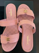 Chanel Calfskin Pink Sandals With CC Detail 38