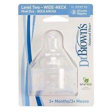 Dr Browns Natural Flow Wide Necked Teats X2 Baby/newborn Bottle Milk Feeding Level 2