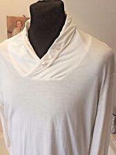 "B C London ~ designer white cotton collared long sleeve T shirt top ~ XL 42-44"""