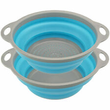 Collapsible Strainer / Collander and Bowl Set for Easy Compact Storage Blue Grey