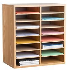 AdirOffice Medium Oak 16 Compartment Adjustable Wood Literature Organizer