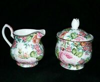 Edwardian Collection England - Sugar & Creamer Fine Bone China Floral Pattern