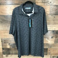 New Roundtree & yorke Performance Mens Black Leaf Print Short Sleeve Polo Shirt