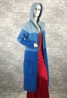 CELINE Runway Auth Blue Knit 100% Cashmere Coat Cardigan Jacket 6 8 US 44 IT M