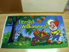 Fahnen Flagge Herzlich Willkommen Gartenzwerg- 90 x 150 cm