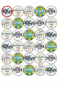 30 x CupCake Edible Birthday Cake Topper Edible Rice Paper Fathers day 21st June