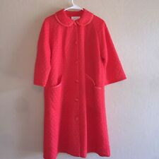 Vintage 60's 70's Gossard Artemis Red Quilted Button Front Robe Front Pockets 12