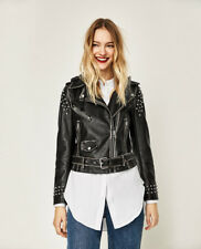 NWTs ZARA Woman Moto Motorcycle Biker Studded Detachable Hood Jacket Small S