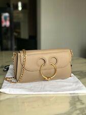 J. W. Anderson Beige Nude Leather Mini Clutch Pierce Ring Chain Crossbody Bag