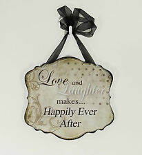 Inspirational wooden wall plaque, Love and Laughter ..........