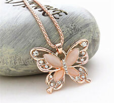 Fashion Women Rose Gold Opal Butterfly Pendant Long Chain Necklace Jewelry CN148