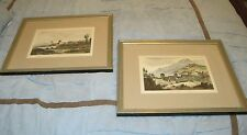 Two Antique Color Engravings of Italy framed and matted art prints 17x21""