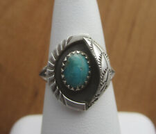 Old Pawn Vintage Native American Navajo Sterling Silver & Turquoise Ring Sz 6.25