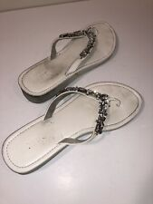 3dd97f33dbad MIXIT Wedge Sandal White With Large Gems Crystals T-Strap Size 9