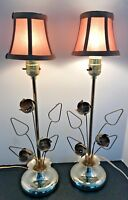 MCM Brass Dresser Vanity Table Lamps Pair Flowers Leaves Vintage